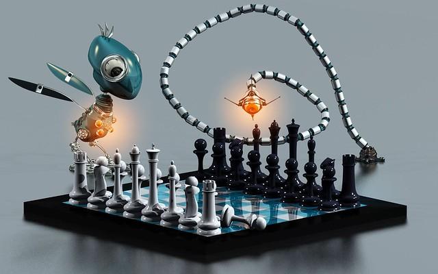Обои шахматы, доска, роботы, животные, партия, игра картинки на рабочий стол, фото скачать бесплатно