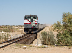 A Cool Day in the Desert (ajketh) Tags: usg us gypsum bombardier dl535e wide cab imperial desert california bridge trestle hoppers load mine train freight railroad narrow gauge hot water tank car plaster city plasterboard 4