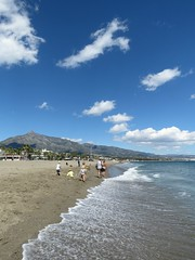 Tide Line! ('cosmicgirl1960' NEW CANON CAMERA) Tags: blue sea sky clouds white marbella spain espana andalusia puertobanus costadelsol travel holidays beach seaside yabbadabbadoo