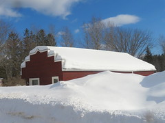 Snow patterns on the roof (yooperann) Tags: snow geometry red asphalt siding small building drifts sunny day upper peninsula michigan alger county