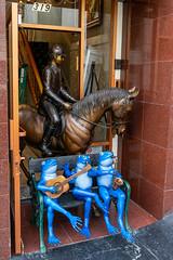 Outside Farinelli Antiques (Serendigity) Tags: california farinelliantiques sanfrancisco usa unitedstates blue city frogs horse musicians rider sculptures unitedstatesofamerica