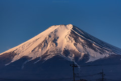 morning light touch the top of Fujisan (Flutechill) Tags: snow mountain mtfuji japan volcano nature mountainpeak winter outdoors lakekawaguchi landscape scenics sky yamanashiprefecture asia snowcapped blue beautyinnature famousplace