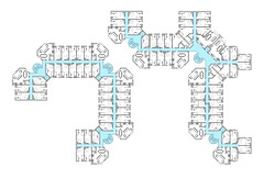 Typical floor plan. Circulation in blue would operate when the building was in hotel mode
