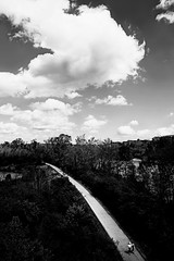 Nashville (kirstiecat) Tags: nashville tennessee monochrome monochromemonday silver clouds sky nature path park people negativespace america unitedstates blackandwhite noiretblanc