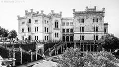 Castello di Miramare (Busy deleting images) Tags: castello schloss palace italy architecture monochrome