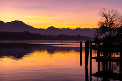 Morning Color Explosion (cs_one) Tags: view landscape nature dawn luzern panorama noperson lucerne cantonlucerne switzerland alps blue lake vacation beautiful reflection water scenic sky fairweather swiss silhouetted europe mountains outdoors twilight orange yellow