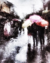 when the sky is desolate but we are not defeated . . . (YvonneRaulston) Tags: emotive impressionist moody figures texture colour umbrella rain