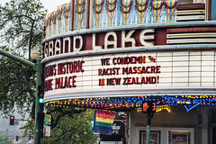 we condemn the racist massacre in new zealand! (pbo31) Tags: mountainview oakland california eastbay alamedacounty city color nikon d810 march 2019 boury pbo31 lakemerritt theater movie cinema grandlake neon sign gay flag