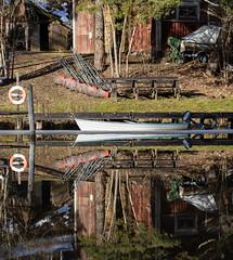 Sunnersta, Uppsala, February 17, 2019 (Ulf Bodin) Tags: uppsala sverige vertorama water spegling sweden outdoor å canonef100400mmf4556lisiiusm fyrisån river boat båt fyrisriver jetty canoneosr reflection sunnersta uppsalalän se