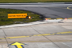 Caution Your Blast (Coquine!) Tags: christianleyk london unitedkingdom england greatbritain airport blast warning sign cityairport taxi apron flughafen