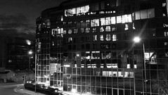 Reflecting the Fall of Night (byronv2) Tags: edinburgh westend edimbourg edinburghbynight night nuit nacht building architecture contemporaryarchitecture modernarchitecture office officeblock scotland shiny reflective mirror mirrored blackandwhite blackwhite bw monochrome
