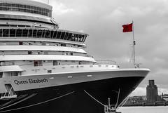 Queen Elizabeth, Cunard Liner, Liverpool Prince's Dock 8.9.11 (bobbex) Tags: ship cruiseship cruiseliner cunard liverpool merseyside rivermersey bw blackandwhite blackwhite boat birkenhead