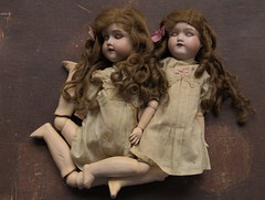 CIGARETTE & NICOTIANE_bisque head dolls (Morimura Brothers)_circa 1918 (leaf whispers) Tags: antique doll bisque bisquehead porcelain mb morimurabrothers morimura japan madeinjapan adoption rehome forsale realhair humanhair sleepeyes blythe vancouver blytheconvancouver child children childhood girl girls twin twins redhair redhead sisters scary creepy horror eerie freaky haunted spirit ghost sinister dead death mementomori asleep sleeping alloriginal factorydress ribbon