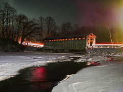 Burning bridge (Bryan Esler Photo) Tags: olympus night cartrails light lumecube lightleak river michigan lowell westmichigan puremichigan livecomposite winter cold snow ice