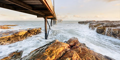 Nightcliff Jetty in Morning Light (Louise Denton) Tags: sunrise nightcliff darwin golden light colour waves tide movement australia se beach landscape