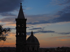 A gentle Roman dusk (Digidoc2) Tags: church tower belltower campanile cupola dome historic dust clouds building trees bird bluehour architecture italy city sky europe old landmark cityscape light urban bell