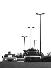 Street Lamps & Cars - Composition (zeevveez) Tags: זאבברקן zeevveez zeevbarkan canon bw car lamp composition