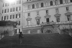 stairs (tamasmatusik) Tags: architecture stairs stairway steps vianazionale roma rome basilica monochrome bw blackandwhite feketefehér morning april sony sonynex nex6 milc sigma sigmalens 30mm street streetphotography italy italia building sunlight people sanvitale