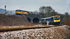 Grid Lodge (whosoever2) Tags: uk united kingdom gb great britain england nikon d7100 train railway railroad march 2019 heatonlodge yorkshire colas class56 56049 56090 preston lindsey tpe transpennine dmu class185