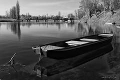Clean river Korana (malioli) Tags: blackandwhite blackwhite monochrome boat river water tree bw bnw bridge riverside korana karlovac croatia hrvatska europe canon