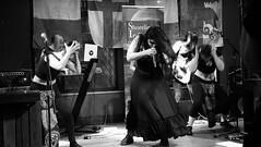 Event Horizon March 2019 028 (byronv2) Tags: music musician woman women makeup stage band krow krowandtheelectrictemple goth gothic punk electro blackandwhite blackwhite bw monochrome dance shorelineofinfinity eventhorizon edinburgh edimbourg scotland frankensteins georgeivbridge