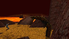 Bolting For The Bridge (Platemail) (BarricadeCaptures) Tags: kingsquest kingsquestmaskofeternity maskofeternity thebarrenregion barrenregion connorofdaventry connor chainmail platemail basilisk rock lava bridge gamescreenshots gamephotography videogame screencapture screenshot