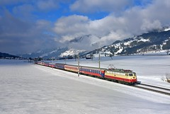 AKE E10 1309 Kirchberg in Tirol (tobias.unsin) Tags: railway rail railroad train zug bahn winter world alps austria alpen e10 ake skizug photography panorama locomotive lok landschaft