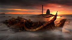 sunrise (shutterbug_uk2012) Tags: uk united kingdom shipwreck bm sunrise dawn rocks seascape light shoreline saltwick bay north east coast colour rusty rust black nab whitby becarefulofthetide 3