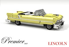 Lincoln 1957 Premier Convertible (lego911) Tags: lincoln premier 1957 convertible 1950s classic ford motor company softtop luxury chrome v8 fins auto car moc model miniland lego lego911 ldd render cad povray foitsop usa americaamerican