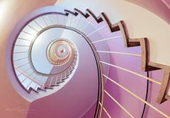 Up and down the stairs (Karsten Gieselmann) Tags: 8mmf18 architektur braun em5markii farbe fisheye mzuiko microfourthirds olympus rosa treppe architecture brown color kgiesel m43 mft pink staircase stairs münchen bayern deutschland