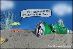 Umweltschutz/Naturschutz environmental protection / nature conservation (manfredkirschey) Tags: umwelt umweltschutz strand urlaub büchse leergut tabletop nahaufnahme stilleben manfredkirschey