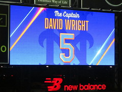 "Citi Field, 09/29/18 (NYM v MIA, David Wright's final game): ""The Captain David Wright 5"" commemorative graphic on the right field scoreboard (IMG_3960a) (Gary Dunaier) Tags: baseball stadiums stadia ballparks mets newyorkmets flushing queens newyorkcity queenscounty queensboro queensborough citifield"