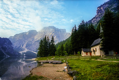 Lago di Braies, Italy: The Church on the Lake (rocinante11) Tags: pragserwildsee lagodibraies italy dolomites dolomiti italie lake water church rural reflection film filmcamera grain filmgrain mountains