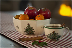 Home for the Holidays (scottnj) Tags: stilllife fruit christmas spodechina scottnj holiday tea teacup scottodonnellphotography cinnamon apple tangerine colorful merrychristmas hollyleaves