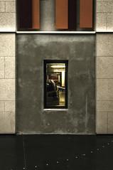 Vision (nkpl) Tags: millau lacapelle parking fenêtre carré rectangle square noir rouge gris beige grey voiture lumièreartificielle artificiallight lignes car window frame béton concrete