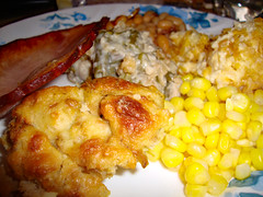Leftovers. (dccradio) Tags: lumberton nc northcarolina robesoncounty indoor indoors inside sony cybershot dscw230 december friday fridayevening fridaynight evening winter food eat ham meat veggies vegetables stuffing filling dressing corn greenbeancasserole hashbrowncasserole crunchtoppotatoes bakedbeans greatnorthernbakedbeans meal supper dinner lunch snack