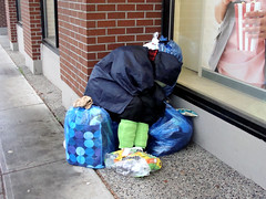 Welcome to Vancouver (knightbefore_99) Tags: vancouver bc west coast poverty homeless greed condos sad street hastings azul pavement hard plastic bag shoes vancouverpoverty