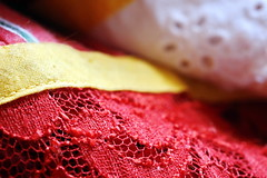 Robe en dentelle et broderie de Tahiti (Christian Chene Tahiti) Tags: canon 6d macromondays cloth robe robetahitienne dentelle broderie vêtement linge blanc rouge red white jaune couleur colour hmm macro bokeh closer closeup
