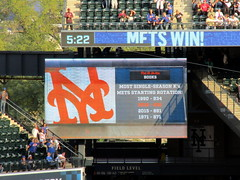 Citi Field, 09/30/18 (NYM v MIA): video board graphic: the Mets' 932 strikeouts by a starting rotation is just two K's shy of the all-time record of 934 by the 1990 team (IMG_4584a) (Gary Dunaier) Tags: baseball stadiums stadia ballparks mets newyorkmets flushing queens newyorkcity queenscounty queensboro queensborough citifield