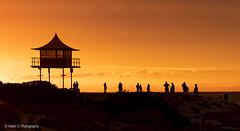 Australia Day Sunset (Helen C Photography) Tags: australia beach sunset semaphore silhouette orange people event fun family party architecture hut canon