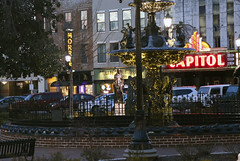 Fountain Square (L. Allen Brewer) Tags: neon fountain park bowlinggreen kentucky capitol capitolartstheater fountainsquarepark dusk light sunset warrencounty wku movietheater downtown mainstreet townsquare neonsign marquee skypac
