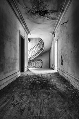 The lost corridor (ForgottenMelodies) Tags: urbex building decay blanc abandonné exploration lost noir indoor stairs bw urban pentax abandoned k3 derelict castle oublié black france europe forgotten white