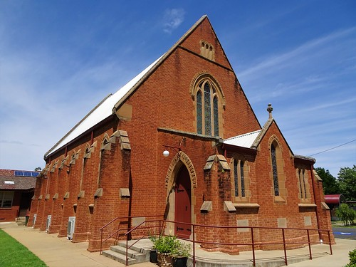 Forbes. The first Methodist services were held on these goldfields in 1863. The first Wesleyan Methodist church was built in 1877. This Gothic brick church was erected in 1906. Now Uniting.