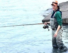 Fishing for salmon (thomasgorman1) Tags: fishing woman fisherwoman outdoors nikon alaska recreation candid reel waders