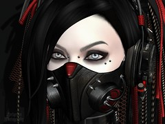 Portrait of a Cybergoth ([Furlgrimr Photography]) Tags: sl second secondlife photo photograph photography hair emotions stars sole headphones cyber cyberpunk cybergoth goth gasmask mask latex catwa piercings collar bdc backdropcity ay portrait selfie selfportrait gothic makeup