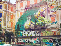 lisbon021 (by claudine) Tags: light16 light l16 capturedbylight architecture graffiti art creative airbrush urban osgemeos thetwins brothers otaviopandolfo gustavopandolfo mural