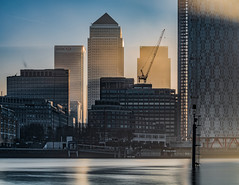 Wharf in the Fog... (Aleem Yousaf) Tags: canary wharf fog river thames mist sunrise light morning crane construction water long exposure architecture citi hsbc credit suisse financial institutions winter cold reflections 70200mm nikon nikkor d810 camera digital flickr london