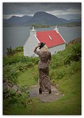 The Red house on the Loch.. (Harleynik Rides Again.) Tags: backshot facelessportrait animalprint womaninlandscape womaninnature highlands longdress blondeshavemorefun scotland harleynikridesagain