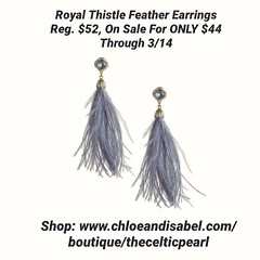 Today's Featured Item: Royal Thistle Feather Earrings Reg. $52, On Sale For ONLY $44 Through 3/14 Shop: https://www.chloeandisabel.com/boutique/thecelticpearl/products/E532BLG/royal-thistle-feather-earrings  Let your statement style soar with on-trend fea (thecelticpearl) Tags: love sale trending spring2k19 shop trend crystal buy lifetime scotland guarantee chloeandisabel royal pavé gold daily feature trendy inspired feathers feather antique trends core shopping earrings jewelry product crystals boutique accessories clear thecelticpearl spring thistle resin blue ootd candi online style dusty fashion