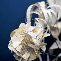 IBuenz_PaperFlowerPot3 (Isabell Buenz) Tags: booksculpture paperart papersculpture bookart bookpages exhibition commission scotland edinburgh isabellbuenz buenz recycled closeup nature flowers paperflowers origami thread stitching solublefabric ibuenz papercutting